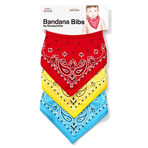 Paisley Burp Cloth Set - Mustachifier Premium Unisex Bandana Drool Bibs for Boys, Girls, Babies, Toddlers - Absorbent Mess Free - Soft Cotton/Polyester (Set of 3) (Red/Yellow/Blue)