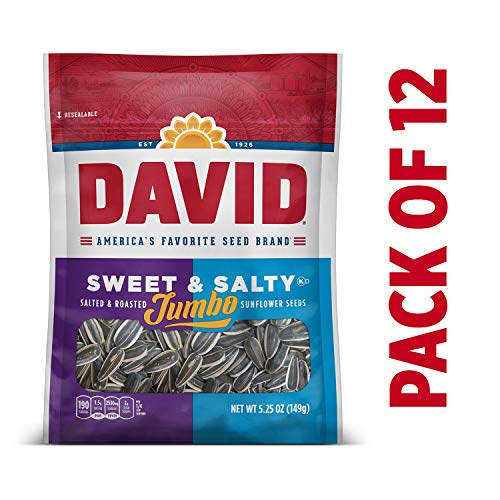 (DAVID Roasted and Salted Sweet and Salty Jumbo Sunflower Seeds, 5.25 oz, 12 Pack)
