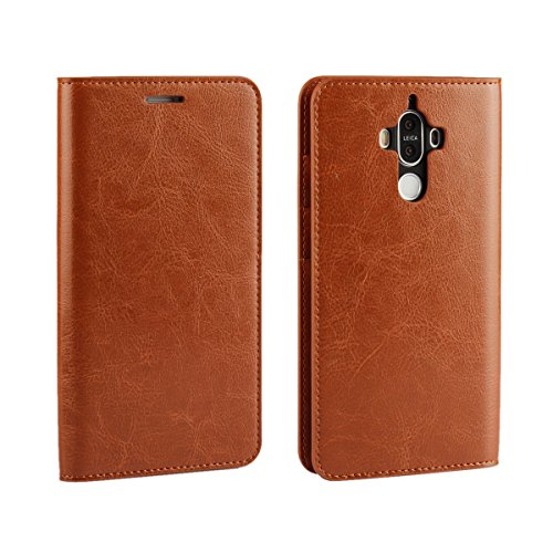 Huawei Mate 9 Case,iCoverCaseGenuine Leather Wallet Case [Slim Fit] Folio Book Design with Stand and Card Slots Flip Case Cover for Huawei Mate 9 (5.9 inch)(Light Brown)