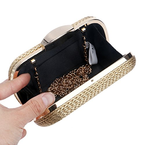 Trenzado Mujer Para Bolso De Black color Gold Noche Rx7WUB