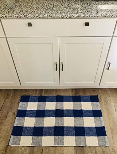 Buffalo Checkered Rug - Plaid Welcome Doormat - Outdoor/Indoor/Door/Floor/Kitchen/Rugs/Front Porch/Bathroom/Laundry Room/Bedroom - White/Blue Outside Mat - House Flannel Doormat 24