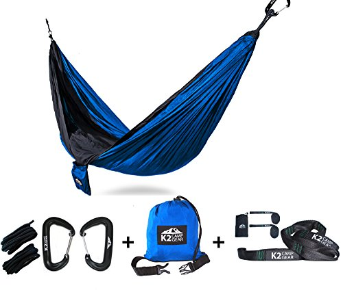 K2 Camp Gear - Original Double Camping Hammock - Premium Aluminum Carabiners, Hanging Ropes, and Heavy Duty Triple Stitched Tree Saver Straps Included - - You Need Camping You What Go Do When