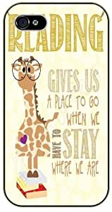 Giraffe, Reading gives us a place to go when we have to stay where we are - iPhone 4 / 4S black plastic case / Animals and Nature, quotes, quote, quotable