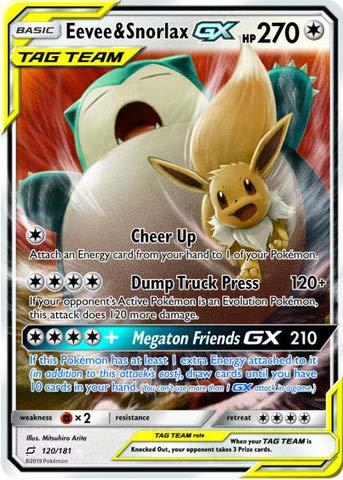 Eevee & Snorlax GX - 120/181 - Ultra Rare (Card Snorlax Pokemon)
