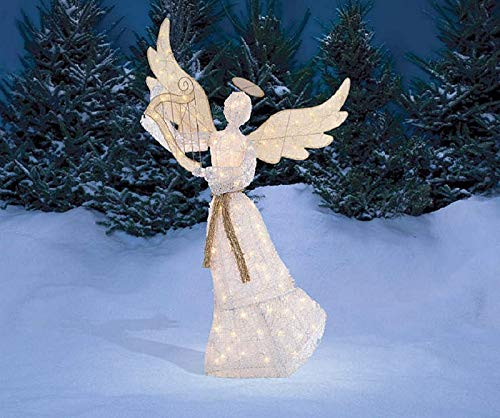 5 ft Shimmering Angel with Halo with Harp Outdoor Holiday Yard Art