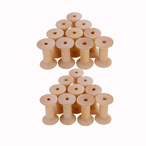 10 st/ücke Holz Leere Spule Leere Gewinde Spulen Nat/ürlichen Draht Weben Spulen Holz Farbe 47mm x 31mm