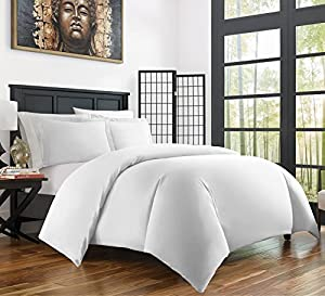 Zen Home Luxury Duvet Cover Set - 1500 Series Brushed Microfiber w/ Bamboo Blend Treatment Duvet Cover Set - Eco-friendly, Hypoallergenic and Wrinkle Resistant - 3-Piece - King/Cal King - White