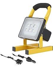 Foco LED Proyector, Focos LED Luces de trabajo 10W 24LED IP65 impermeables Lámpara Proyector LED, Luz Portátil para Trabajo de Noche, Iluminacion Exterior Recargable del Jardín al Aire Libre