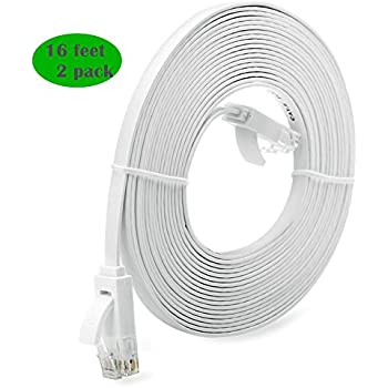 2 Pack - 16 ft Inthernet Cable Cat 6 with RJ45 Connectors,Home Office Computer
