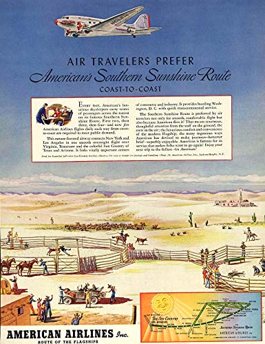 (Air Travelers Prefer American Airlines Southern Sunshine Route ad 1940 F)