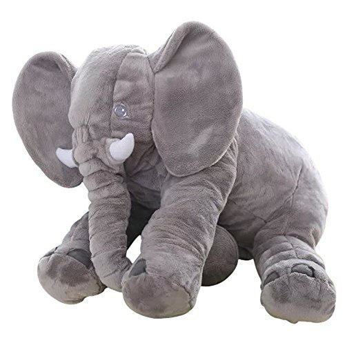 - Big Soft Baby Elephant Plush Toy – Stuffed Elephant Cushion Doll Toy for Kids – Perfect Gift for Baby Shower, Birthdays, Children, Grand Sons/Daughters - Grey