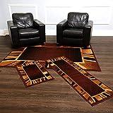 Home Dynamix Ariana Konya Modern Area Rug 3 Piece Set, Contemporary Brown/Beige/Black