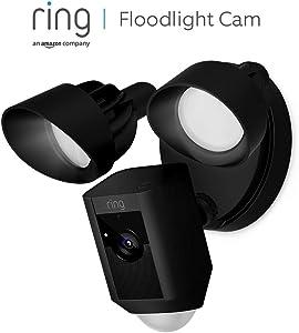 Ring Floodlight Cam, HD-beveiligingscamera met ingebouwde schijnwerpers, tweeweg-audio en een alarm | Inclusief proefabonnement van 30 dagen op Ring Protect Plus | Zwart