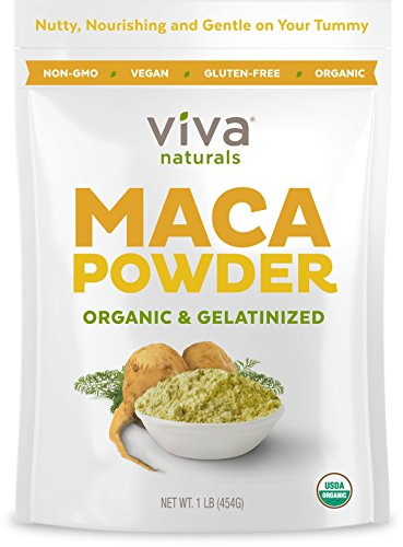 Viva Naturals Organic Maca Powder, Gelatinized for Enhanced Bioavailability, Non-GMO, 1lb Bag ()