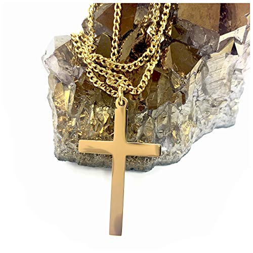 Hollywood Jewelry 14K Gold Chain Cross Pendant Necklace for Men, Women w/Real Strong Solid Clasp Miami Cuban Link Style (20) ()