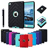 iPad Mini 4 Cases ,BESDATA [3 In 1] Full Border Hybrid Protective Tire Profile Colors Combo Silicone Plastic Cases For Apple iPad Mini 4 +Stylus Pen +Screen Film Protector+Cleaning Cloth (Black-Mint Green)