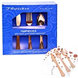 TBwisher Gold Plastic Disposable Flatware Silverware Set Disposable Tableware Cutlery - 60 Paper Napkin 60 Forks 60 Spoons and 60 Knives Combo 240 Party Supplies (Rose Gold)