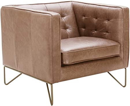 Rivet Brooke Contemporary Mid-Century Modern Tufted Leather Living Room  Chair, 35\