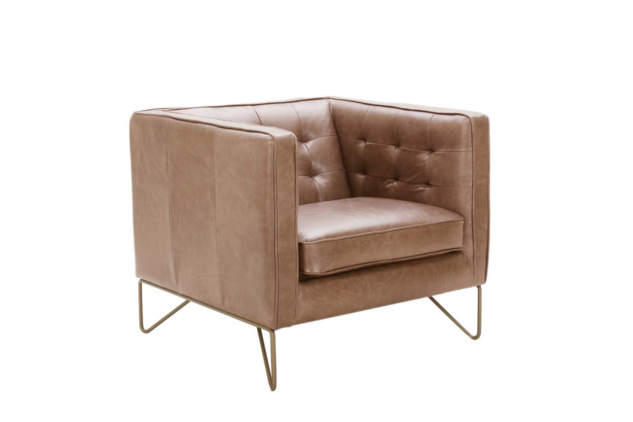 "Rivet Brooke Contemporary Mid-Century Modern Tufted Leather Living Room Chair, 35""W, Cognac"