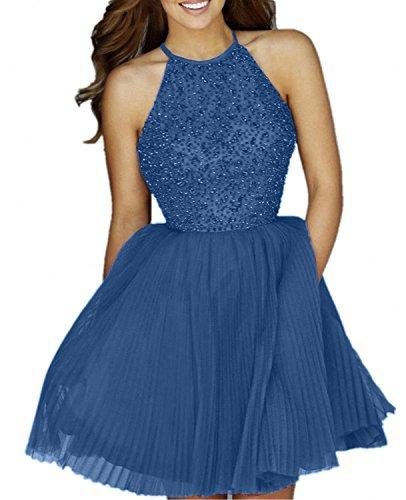 Tinte Promkleider mia Blau Mini A Linie Rock Kurzes Prinzess Cocktailkleider Brau Abendkleider La Festlichkleider Damen Perlen A4qCqH