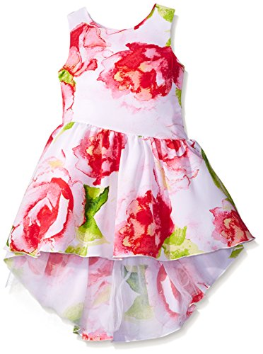 Sweet Heart Rose Little Girls Floral Koshibo Asymmetrical Dress With High-Low Hemline, Multi, 6X Sweetheart Rose Baby Girl
