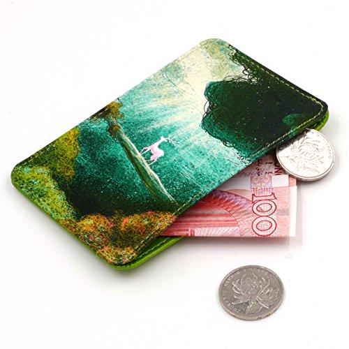 Blocking Leather Front Pocket Wallet,Green Deer Card Holder for Women & Girl,Money Clip,Creadit Card Holder Case ()