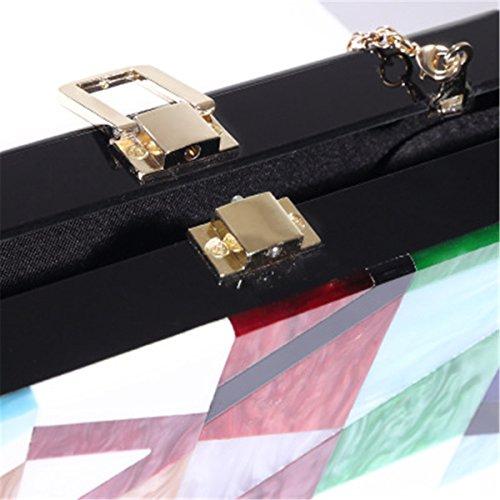 Bag Geometric BeautyWJY Grey Gold Clutch Chain Colorful Acrylic Pattern Evening Purses zqSdqf