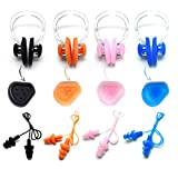 Zooshine 4 Sets Waterproof Corded Silicone Swimming Earplugs,Ear Protector Box Package