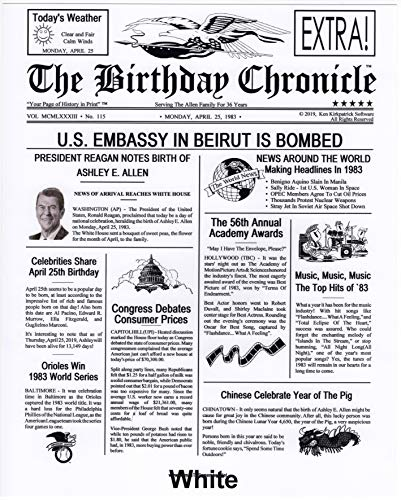 The Birthday Chronicle On The Month/Year You were Born Newspaper 11 x 14 Birthdates 01/01/1917 to 12/31/2016 (Larger Size Antique Parchment, Royal, OR Marble Art Backgrounds) (White)