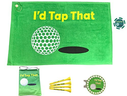 Giggle Golf Par 3 - Golf Towel, Tee Bag with 4 Tees, and Bling Ball Marker with Hat Clip - Perfect Golf Gift for Women (I'd Tap That)