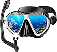 Adult Snorkel Set, Anti Leak Mask Snorkel Sets for Adult, Fog-Resistant Panoramic Tempered Glass Diving Mask F
