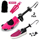 #3: Shoe Stretcher Women Shoe Tree Widener, Pair of 4-way Adjustable Expander Stretch Length Width Height, Tough Plastic & Metal, 8 Bunion Plugs Included, Pink for Women's Shoes Size US 5.5-10