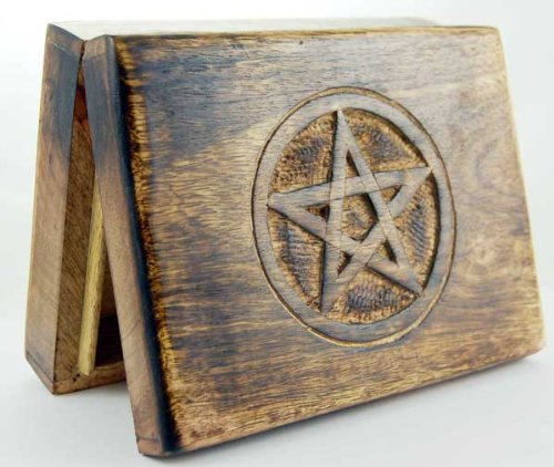 Wooden Tarot Card Box With Engraved Pentagram (17x13cm) Geofossils