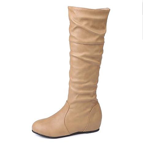 ZARLLE Zapatos De Mujer Botas De Mujer Botines Mujer Invierno OtoñO Negro Plano Pierna Alta Ante