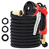 50FT Garden Hose MATCC All New Expandable Water Hose Expanding Hose, Metal 8 Function Heavy Duty Spray Nozzle and Storage Bag Included for Watering Plants, Car, Pets and Cleaning