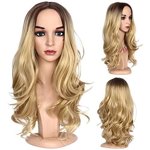 Temperature High Silk - MaxFox Women Full Head Over Wave Wig High Temperature Silk Female Rose Inner Net Long Extensions Curly Big Hair Wig (Gold)