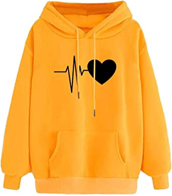 Achruor Hoodie Girls Boys Pullover Casual Teenage Winter Autumn Fashion Heart Long Sleeve Shirts Hooded Tops with Pocket Sweatshirts