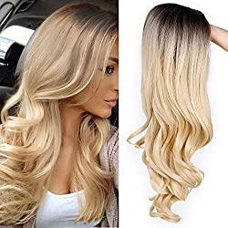 ForQueens Ombre Long Curly Wig 2 Tone Blond Synthetic Party Wigs for Women Middle Part Full Wigs with Heat Resistant Fiber Cosplay Wigs