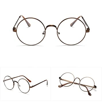 9e4f4ad8ab Image Unavailable. Image not available for. Color  Fang sky Men Women  Eyeglass Round Metal Frame Glasses Retro Spectacles Clear Lens ...