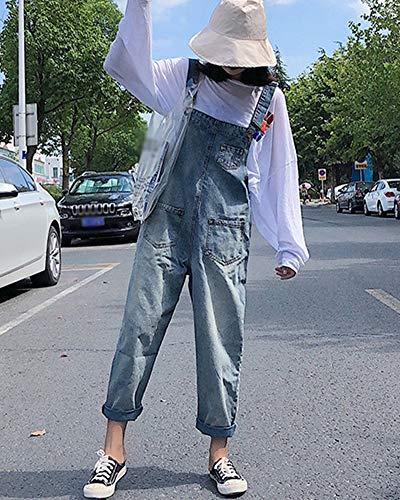 Salopette Lache Combinaison Bleu Bavoir Jeans Droit Jumpsuit Denim Pantalon Clair Femme Casual Oxagwq7Cn