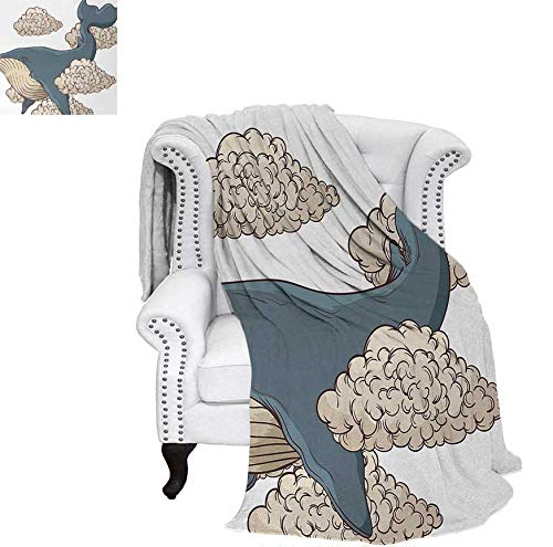- Weave Pattern Blanket Whale Hovering on Sky Clouds Animal Fish Marine Life Nautical Sea Graphic Art Custom Design Cozy Flannel Blanket 90