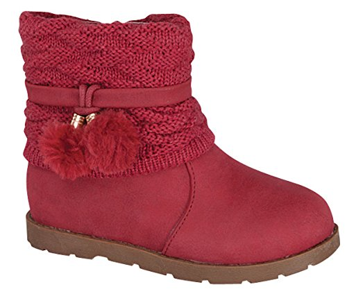 (Lucky Top Kid's Dress Boots Deco Sweater Top Tmcanna-1 (Toddler 8) Red )