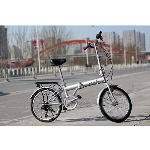 unYOUsual U transformer 20' Folding City Bike Bicycle 6 Speed Shimano Gear Steel Frame Mudguard Rear Carrier Silver