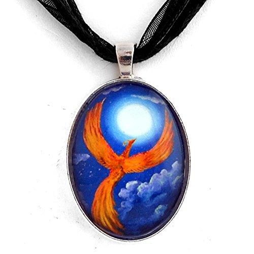 Phoenix Galleries Bird (Phoenix Firebird Necklace Handmade Fantasy Art Pendant Jewelry Orange Blue Moon Night Stars)