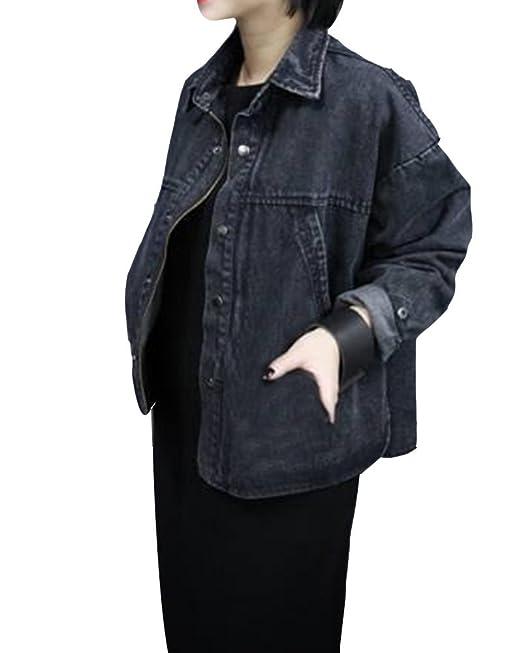 Gladiolus Mujeres Manga Larga Chaquetas Jacket De Mezclilla Abrigo Denim Jacket Negro L: Amazon.es: Ropa y accesorios