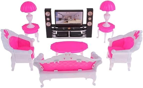 Amazon.es: 7PCS Dollhouse Juego De Muebles De Plástico Mesa Auxiliar Sofá Lámpara De Mesa TV: Juguetes y juegos
