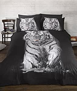 Ropa de cama funda de edredón de tigre cielo impresionante. Quirky Photgraphic impresión Animal edredón Set. Blanco y Negro. Tamaño King