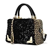 Tenworld Charming Women Sequin Leopard Messenger Cross Shoulder Bag Handbag