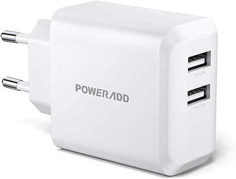 Salida m/áxima 5V-3.4A 17W Carga r/ápida 5V-2.4A + 5V-1.0A MAGIX Cargador de Pared USB Dual, Blanco Enchufe EUR