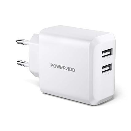 POWERADD Cargador de Pared 24W con 2 USB de Salida (5V/2.4A ...
